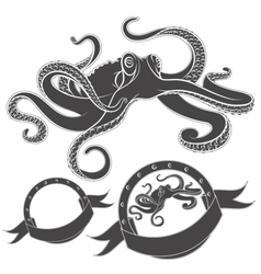 Set images with octopus isolated object vector