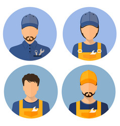 Set of avatars of the builders builders circle vector