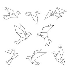 Set of black line geometric dove vector