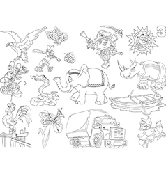 Set of cheerful cartoons vector