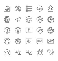 Set of help and support line icons call center vector