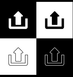 set upload icons isolated on black and white vector image