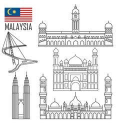 set with malaysia landmarks in outline style vector image
