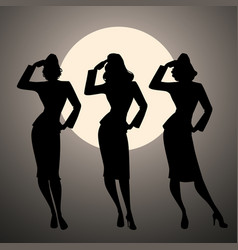 silhouettes of three army girls in retro style vector image