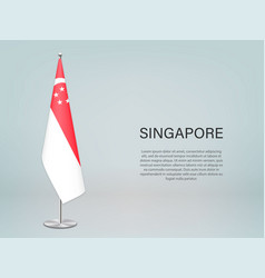 Singapore hanging flag on stand template vector