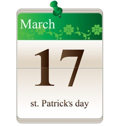 St Patricks Day Calendar vector