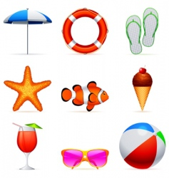 summer vacation icons vector image