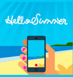 Summer vacation template smart phone hands hold vector