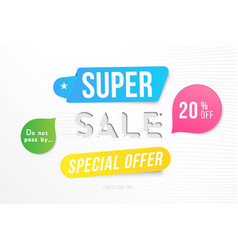 super sale 20 off discount banner template for vector image