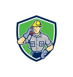 Telephone Repairman Phone Shield Cartoon vector