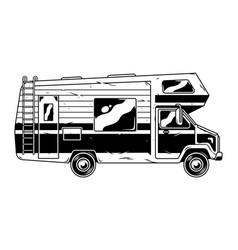 Vintage recreational vehicle camper car vector