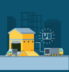 warehouse building with truck delivery service vector image