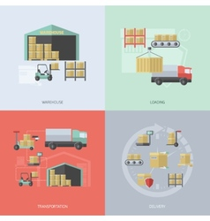 Warehouse Flat Set vector image