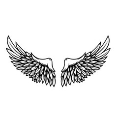 Wings in tattoo style isolated on white vector