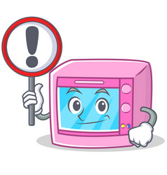 With sign oven microwave character cartoon vector