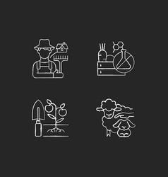 Work on farm chalk white icons set on dark vector