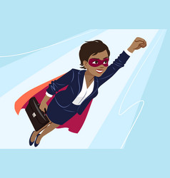 Young african-american superhero woman wearing vector