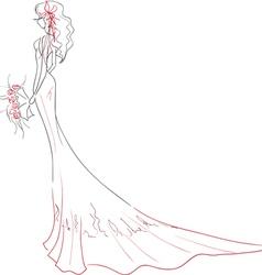 Bride with bouquet vector image