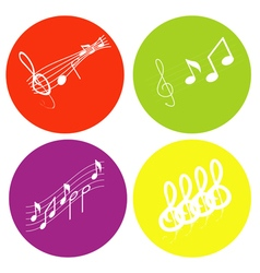 color icon set with notes and treble clef vector image