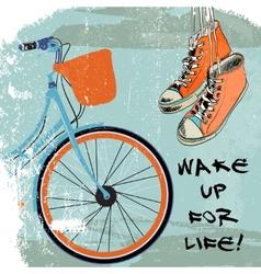 Gumshoes sketch bike hipster vector image