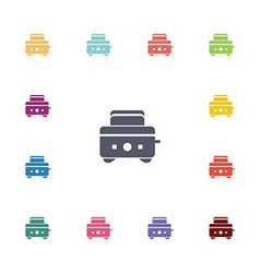 toaster flat icons set vector image vector image