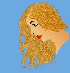 beautiful blonde woman profile vector image