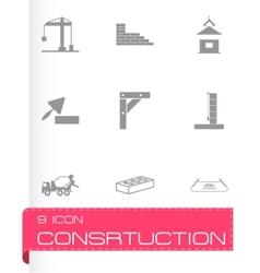 black construction icons set vector image