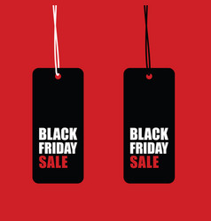 black friday sale tag set on red background vector image vector image