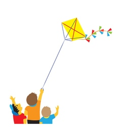 Children with a kite vector image vector image