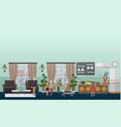 family characters at home flat icons set vector image