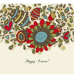 Floral Easter Card with Eggs vector image vector image