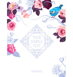 flyer template with lovely half-colored rose vector image