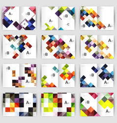 set of square geometrical business brochure vector image