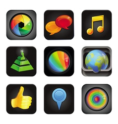 set with application square icons vector image vector image