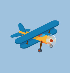 side view of airplane biplane with piston engine vector image