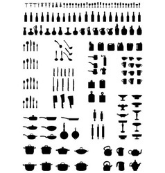 Silhouettes of kitchenware vector