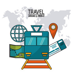 Travel around the world railway train vector