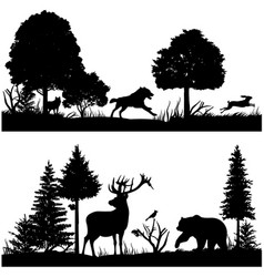 Wild animals silhouettes in green fir forest vector