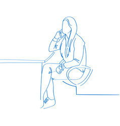 young hand drawn woman talking on the phone in vector image vector image