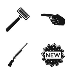 a razor an index gesture and other web icon in vector image