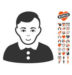 boy icon with valentine bonus vector image vector image