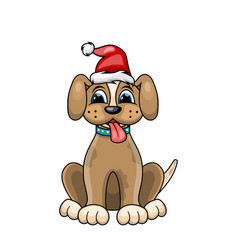 christmas dog portrait in red santa hat character vector image vector image