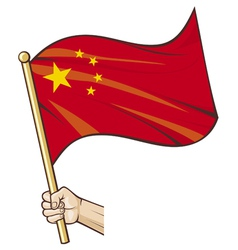 Hand holding China flag vector image