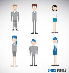 Office People Character in Blue Theme vector image