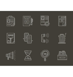 Personnel search white flat line icons set vector image