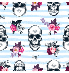 seamless pattern with human skulls and semi vector image