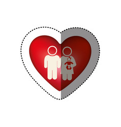 sticker of white background pictogram with heart vector image vector image