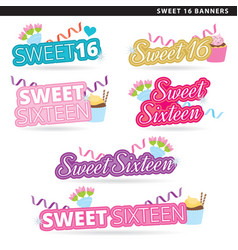 sweet sixteen banners converted vector image vector image
