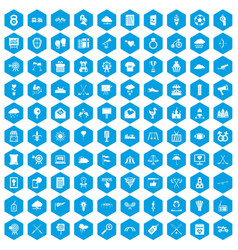100 arrow icons set blue vector image vector image