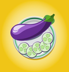 eggplant on a plate with slices vector image
